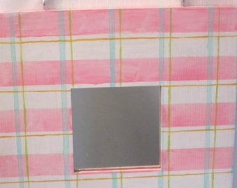 SALE** Perky Pink, White, Blue and Green Plaid Mirror