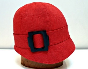 Cloche Hat in Red Linen with Vintage Buckle -  MADE TO ORDER