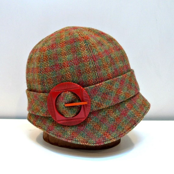Cloche Hat in Hand Woven Scottish Wool with Art Deco Buckle
