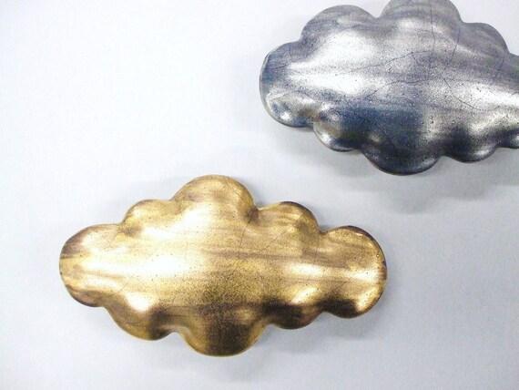 Matte Golden cloud - medium porcelain wall  cloud pillow