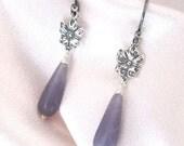 Lavender Lepidolite Earrings, Art Nouveau Violet, Oxidized Sterling Silver