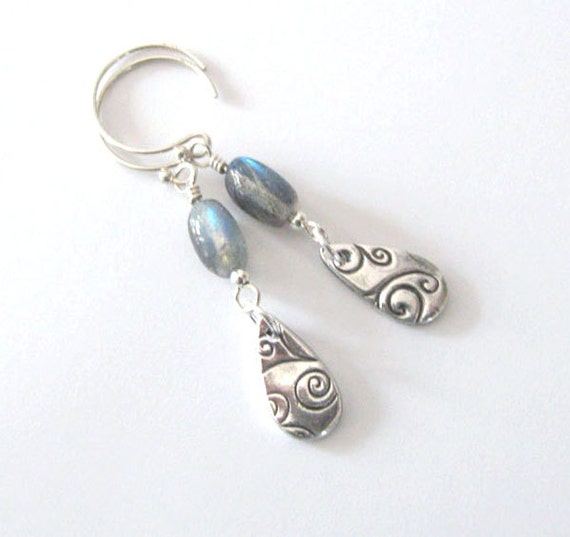 Labradorite Earrings Fine Silver Swirl Teardrop, Circle Hooks, Dangle, CIJ