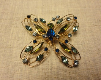 Vintage Butterfly Pin with Colored Rhinestones Navettes Blue Green