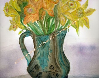 Watercolor Painting Floral Art, Floral Painting, Floral Watercolor, Flower Art, Flower Vase Painting, Art Print Titled Mixed Daffodils