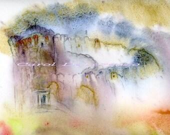 Watercolor Painting Castle Art, Castle Painting, Fairy Art, Fairy Painting, Fantasy Art Print Titled The Magic Castle