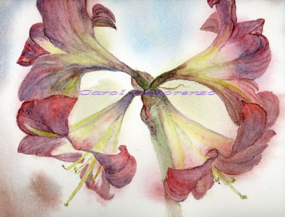 Watercolor Painting Floral Art, Floral Painting, Floral Watercolor, Lily Painting, Stargazer Lilies, Floral Art Print Titled Star Lily