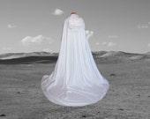 White Wedding Cloak with Train - Medieval Wedding - Renaissance Festival - Costume - Halloween