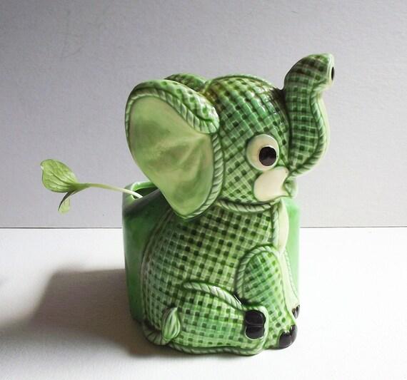 Vintage Lefton Planter - Green Plaid Elephant - Nursery Decor - Gingham Ceramic Vessel
