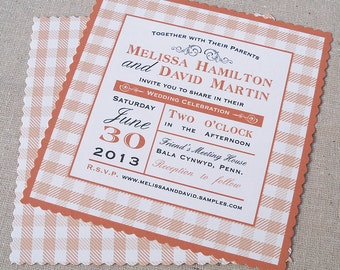 Gingham wedding invitation, country wedding, bridal shower invitation, picnic invitation, barbecue rehearsal dinner, gingham, set of 20