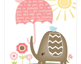 Elephant and Umbrella. I will uphold you with my right hand....Scripture 8 by 10 print