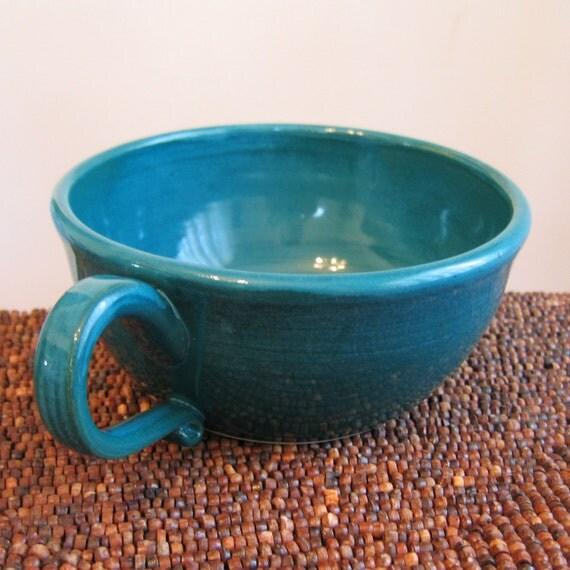 Large Soup Mug Peacock Blue 18 oz. Ceramic Mug - Stoneware Pottery Coffee Cup