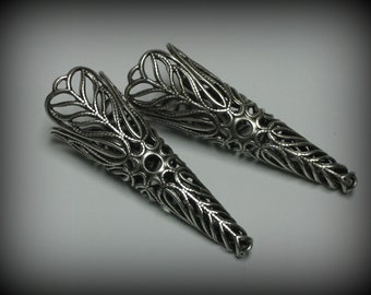 2 Sterling Silver Plated Gorgeous Filigree Cone Bead Caps (bcs19vjsb503)