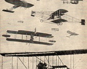 Vintage Chart of Early Types of Airplanes Antoinette Voisin Curtiss Farman Biplane