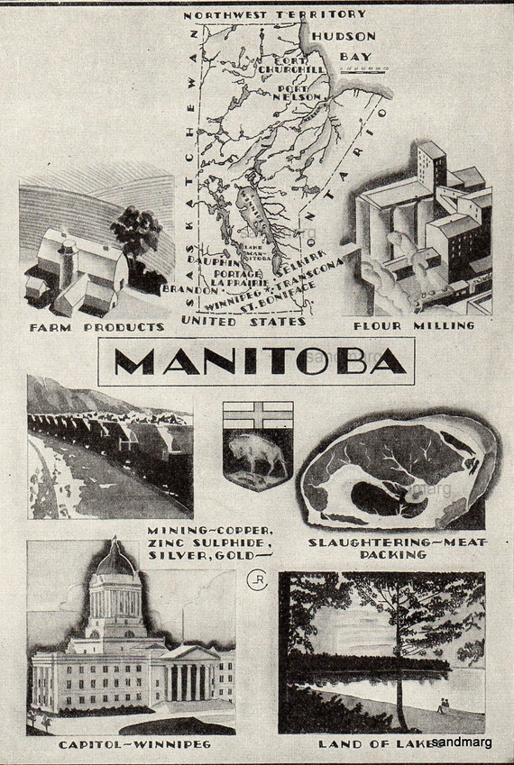 Vintage Manitoba  Art Deco Style Map and Illustration of Industry Agriculture Mining  1930s