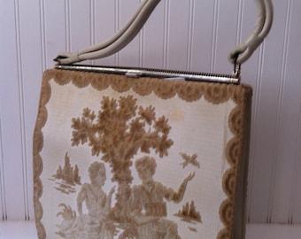 vintage french tapestry carpetbag - handbag -