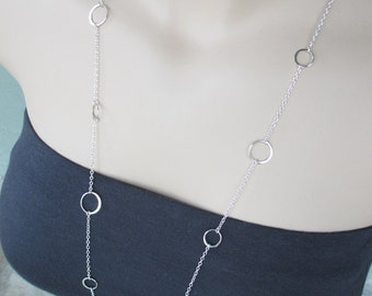 Long Silver Necklace, Circles, Sterling Silver, Modern, Circle Necklace, Layering Necklace, Irisjewelrydesign