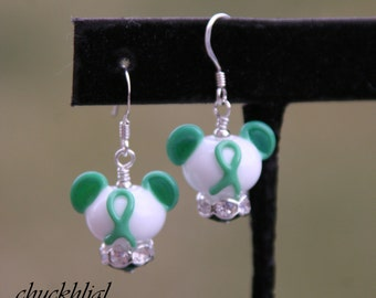 Think Green Awareness Ribbon Disney Inspired Mickey Minnie Mickey Mouse Style SRA Lampwork DeSIGNeR Earrings Heart Disease Aids Drugs DARE