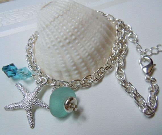 Aqua Anklet Beach Glass -Sea Glass - Seaglass Anklet