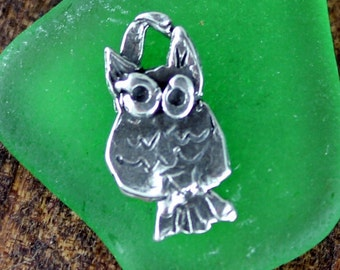 Owl Sterling Silver Owl Charm  CH46
