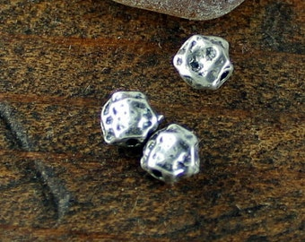 Spacer beads THREE Round Rustic Sterling Silver 003/BP330