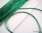 SALE - 15ft Green Satin Cord 1mm Bugtail Dark Green - 5 yds - STR9066CD-DKG15