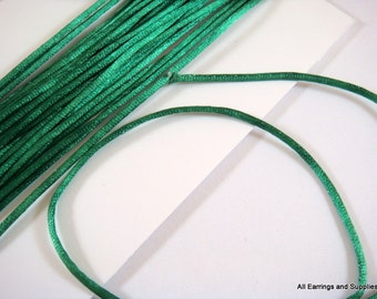 BOGO - 15ft Green Satin Cord 1mm Bugtail Dark Green - 5 yds - STR9066CD-DKG15 - Buy 1, Get 1 Free - no coupon required