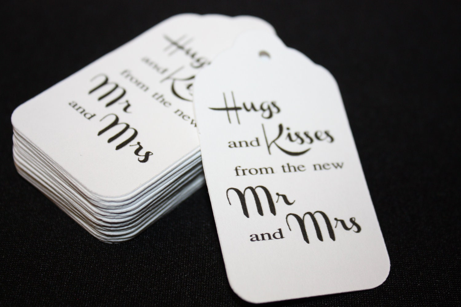 Wedding Favor Tags With Photo : 100 Wedding Favor Tag Hugs and Kisses from the New Mr and Mrs