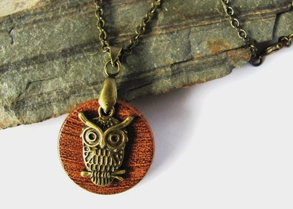 Owl Necklace Wood Brass Charm Mesquite Wooden Pendant  Eco Friendly Natural Jewelry by Hendywood