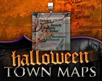 Salem, Massachusetts Map Pendant