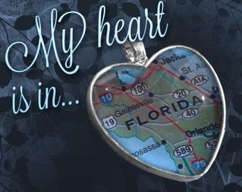 Florida Heart Map Pendant