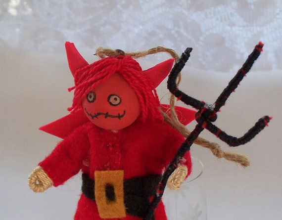 Halloween doll - hanging ornament - Young bones dressed in red