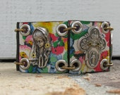 """Rustic Leather Panel Bracelet with Religious Medals--Size 7"""""""