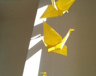 "5 Dangling Cranes - Yellow, folded from 7"" (17.8 cm) Solid Origami, Crane Mobile, Home Decor, Nursery Mobile, Handmade, Bright, Kawaii"