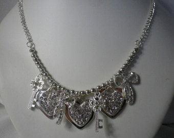 SALE Sparkling Silver and Diamonte Cluster Charms Necklace and Earrings