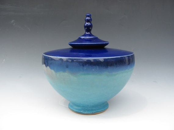 Large Urn in Cobalt and Turquoise