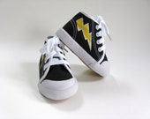 Lightning Bolt Shoes, Hand Painted Kid's Black Hi Top Hero Sneakers, Baby and Toddler