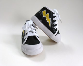 Lightning Bolt Shoes, Hand Painted Black Hi Top Hero Sneakers for Baby and Toddler, Halloween Costume or Outfit