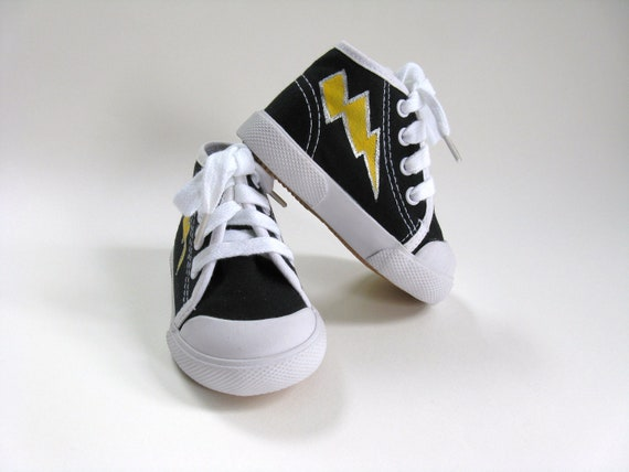 Lightning Bolt Shoes, Hand Painted Black Hi Top Hero Sneakers, Halloween Outfit, Baby Shower Gift, Boys Hero Costume, Baby and Toddler