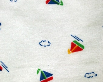 vintage 50s flannelette fabric, featuring cute sailboat motif, 1 yard