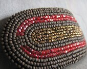 SALE Brown and Red Beaded Barrette with Two Sets of Vintage Seed Beads and a Modern Set