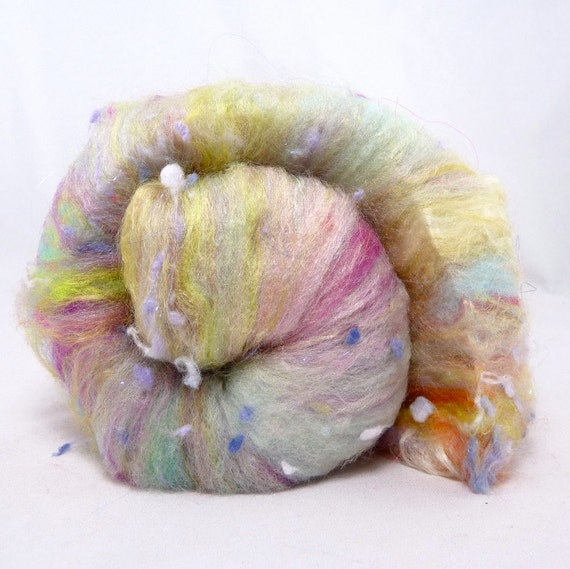 Deluxe Smooth Twice Blended Drum Carded Batt for Spinning and Felting- Robins Eggs