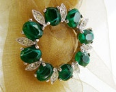 Vintage Rhinestone Brooch, Signed Panetta Round Clear Emerald Green Silvertone