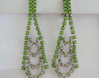 Vintage .. Rhinestone Earrings Czech Large Apple Green Clear Chandelier Statement