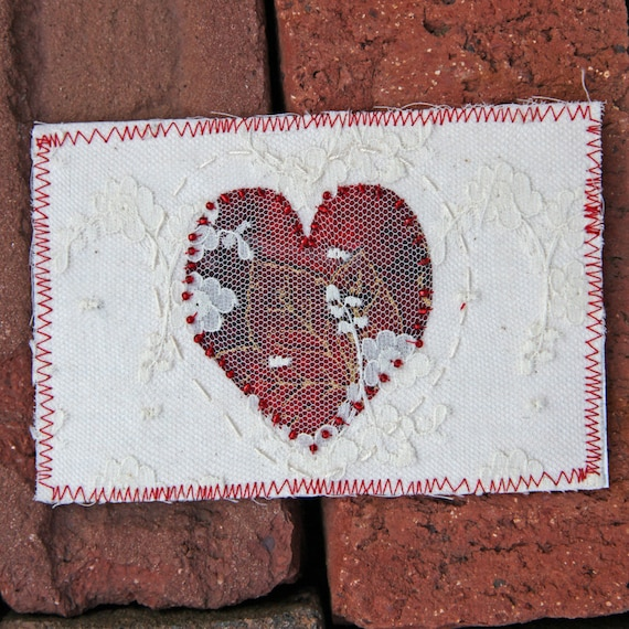 Fiber Art Heart Fabric Postcard Cream Lace Red Beaded Love Free Shipping in the US