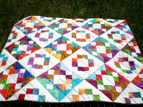 Quilt-Twin coverlet or lap-Scrap Happy Batiks- 48 inches by 56 inches