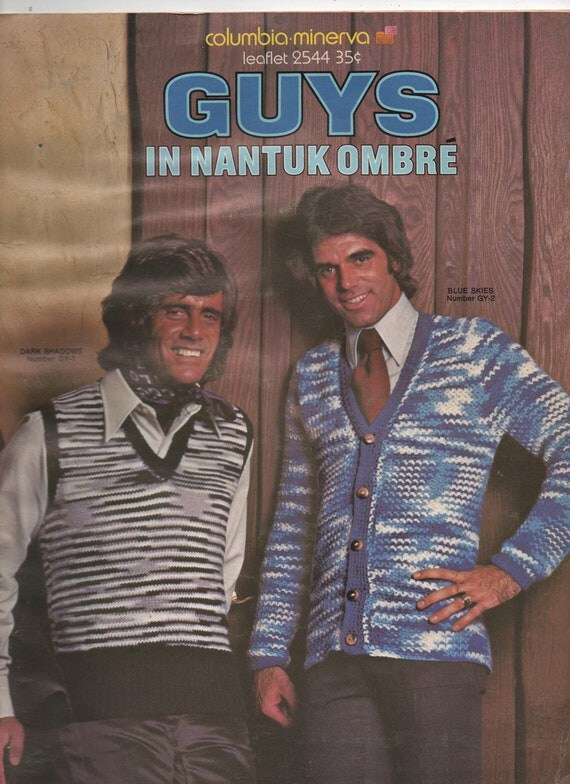 VERY RARE 1970s vintage pattern Columbia Minerva 2544 Guys in Nantuk Ombre leaflet stripes sweaters vests men's