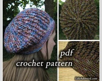 Crochet Pattern pdf - Ridges Slouch Hat