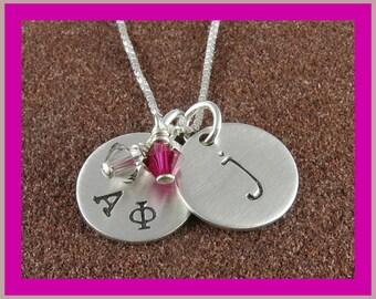 Alpha Phi Sorority Necklace,ΑΦ Sorority Sterling Silver or 14K Gold Filled Lowercase Monogram Initial Pendant,ΑΦ Bid Day,Initiation/OLP