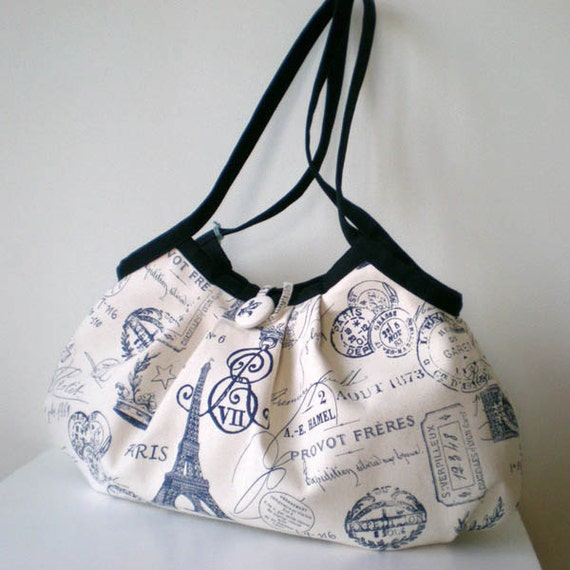 Extra large Canvas granny bag, Paris Navy and off-white - Ready to ship