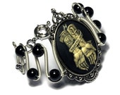 Steampunk Goth Jewelry - Bracelet - Ivory on Black No Regrets / Je ne regrette rien Cameo - Silver-tone